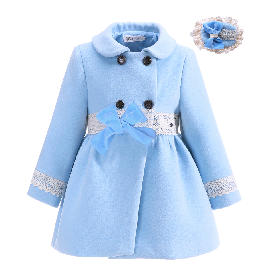 CUSTOM MADE Pettigirl Fashion New Design Girls Warm Boutique Girl Frock <strong>Coat</strong> With Handmade Headwear