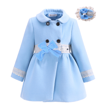 Pettigirl Fashion New Design Girls Warm Boutiqute Girl Frock Coat With Handmade Headwear