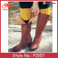P1557 winter cable hand knit women yellow boot cuffs short leg warmers