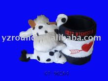 Valentines cow delicate multi-function pencil holder&pot&container&barrel plush toy