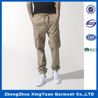 Fashion man trousers wholesale 100% cotton loose cargo pants with pockets