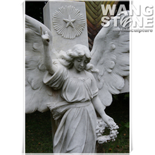 Sculptural Monument Life Size Chinese Grave Stone Decoration Angel Statue