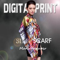 100% silk Fashion Accessories Digital print Silk Scarf -J