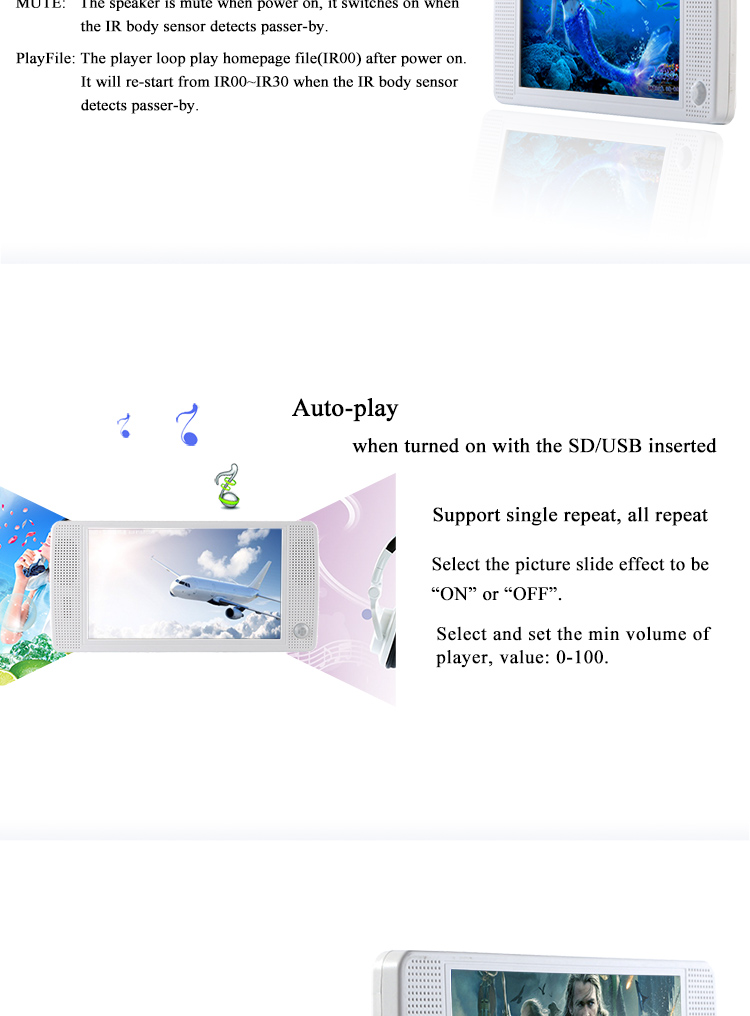 7 inch Portable Motion Sensor PIR Very Small LCD Screen Mini LCD Digital Advertising Screens For Sale hd video player