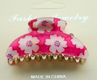 Latest clear crystal hair claw with printed flower Pink