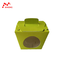 paper food box with big round PET window at front