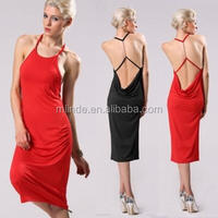Designer One Piece Sexy Women Natural Draped Casual Party Spaghetti Strap Slim Backless Mid Calf Stretch Sleeveless Dress