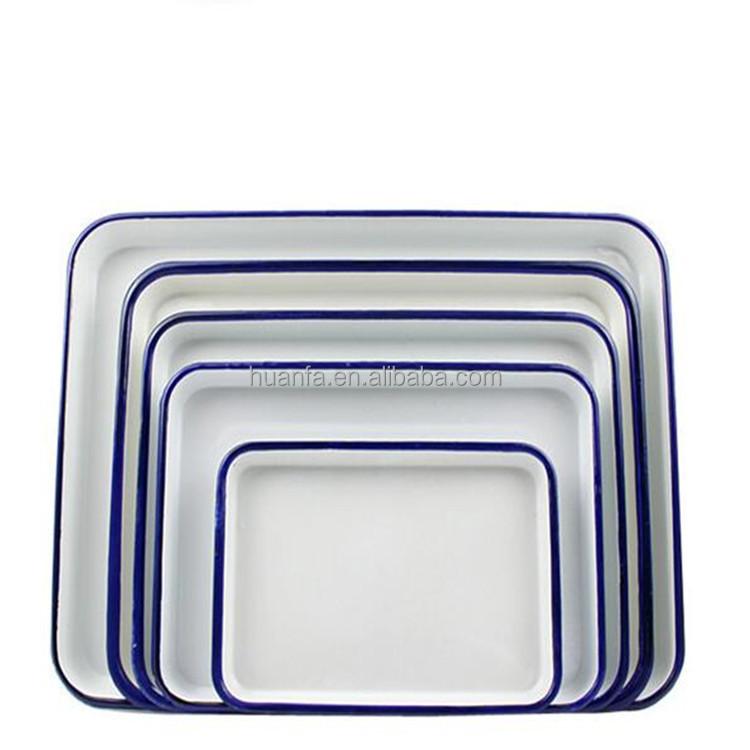 에나멜 접시 식탁 대용량 트레이 에나멜 광장 구이 팬 저장 식품 ...