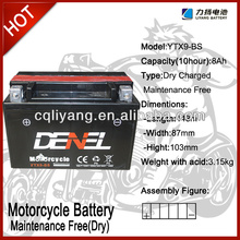 taiwan motorcycle parts/ Battery for motorcycle 12V 9AH (YTX9-BS)