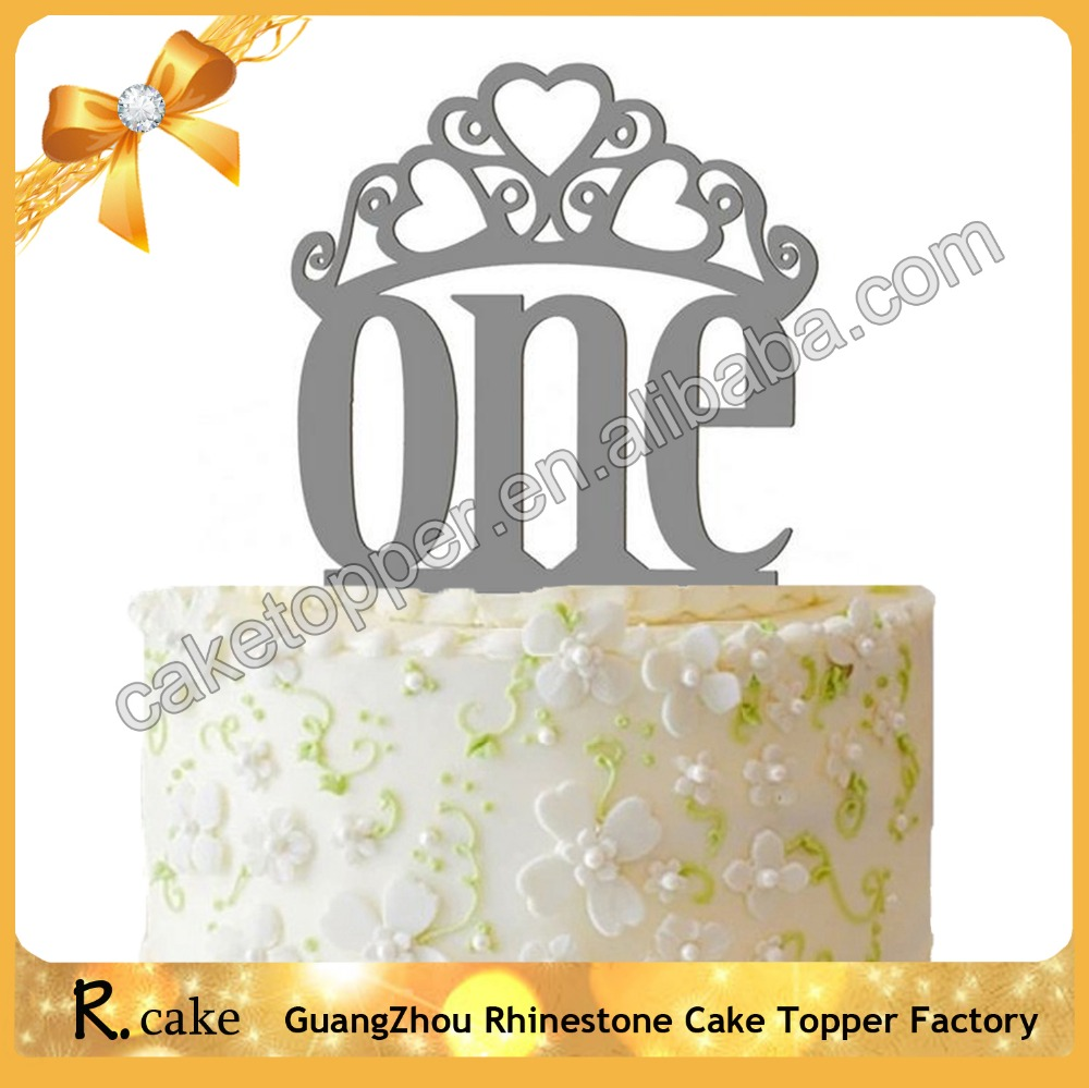 Custom Acrylic Cloth Silver One Cake Topper with Crown Wedding Cake Decoration,Happy Mirror Gold Birthday Cake Topper