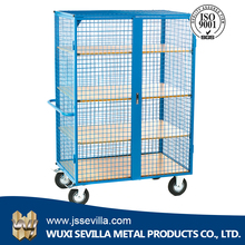 Collapsible rolling security container for cargo and storage equipment with PP wheels