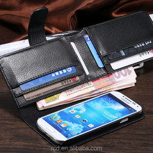 NEW Big Black Purse PU Leather Money Case Flip Cover for Samsung Galaxy S4 I9500 Card Pouch RCD03784