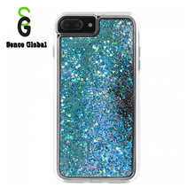 Popular sublimation transparent blue liquid glitter tpu phone case for iphone 7 8 plus