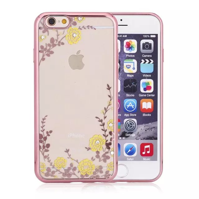 Hot Selling High Quality Electroplate Flower pattern TPU Soft Case for iphone6 6s ,Ultra Thin Case for iphone 6 6s