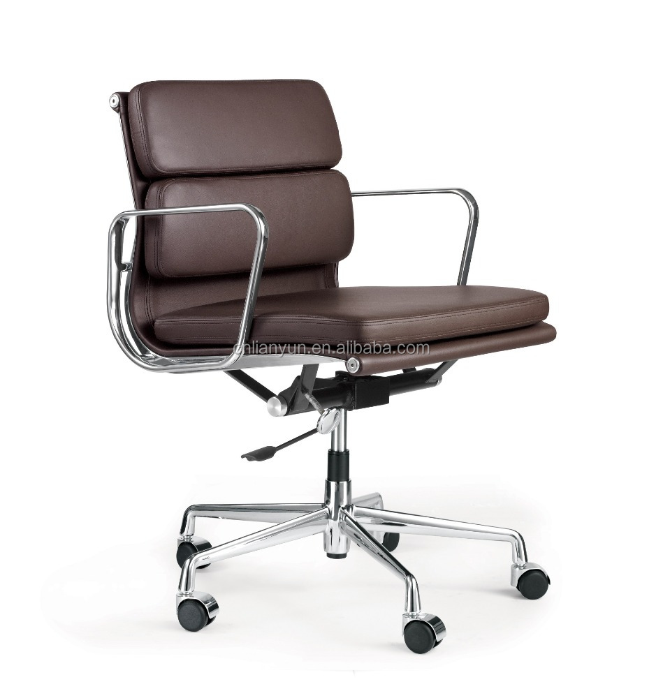 Brown Leather Eame Style Soft Padded Office Chair Mid Back