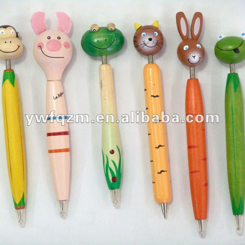 different models wood cartoon pen used for <strong>promotion</strong>