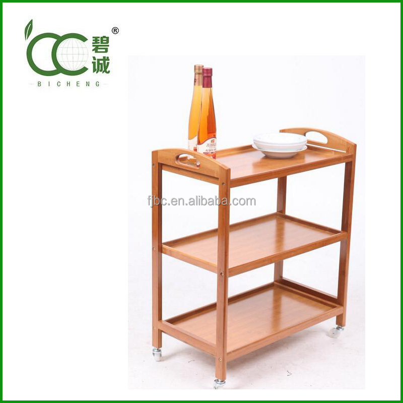 Eco-Friendly Kitchen Serving Trolley Cart Bamboo Kitchen Trolley Wholesale