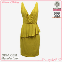 lady fashion deep v-neck pleats front sleeveless back zipper bias cut bodycon yellow dresses