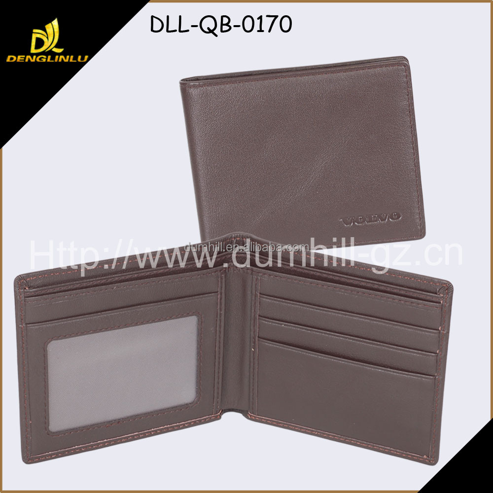 Bifold Brown leather purse for men, cheap Men Wallet With 4 Card Slots