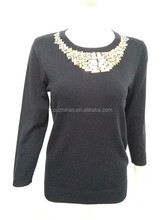 Knitted O neck with diamond Women Pullover