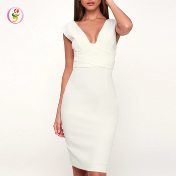 Summer High Quality Sexy Bandage Party Midi Dress White Sheath Wrap Women's Formal Dress