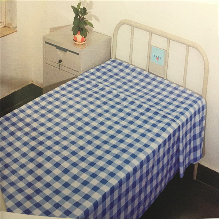 Twin Size Classic Plaid Hospital Bedding Sets Polycotton Bedsheet China Manufacturer