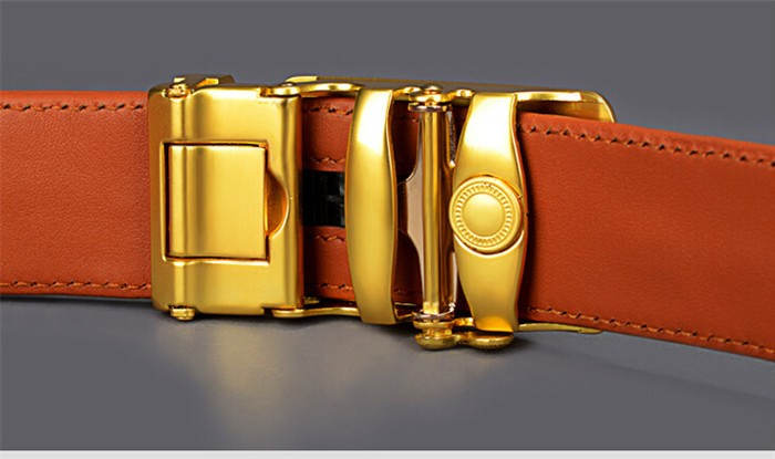 Adjustable Stainless Steel Buckle Brown Leather Belt For Man