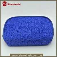 Beautiful Promotion Elegant Deep Blue Lace Wholesale Polyester Cosmetic Bag For Lady