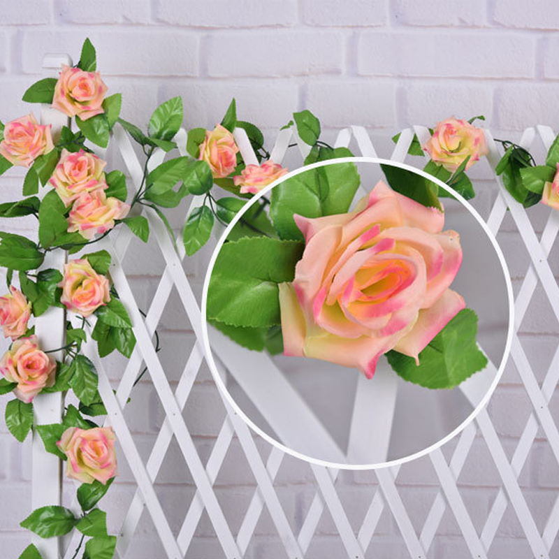 hot sale 200cm length artificial rose rattan rose vine rose ivy for indoor or outdoor decoration