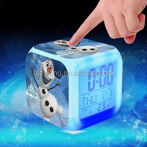 7 LED color changing digital alarm clock thermometer date time night light creative home furnishing alarm luminous