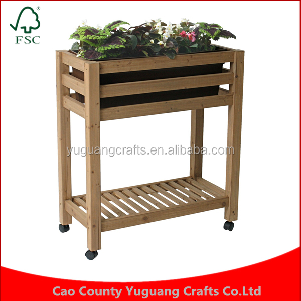 Rustic Style Brown Wood Freestanding Plant Flower Planter Box Stand Elevated Garden Bed System