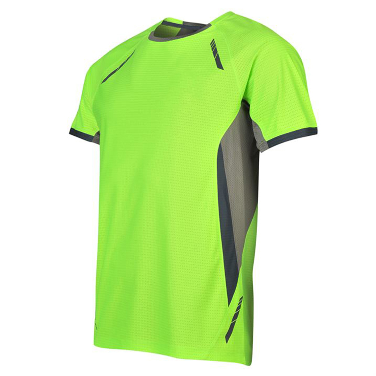 contrast panel dri fit polyester breathable running t shirt