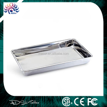 Stock lot 4cm height stainless steel plate, cosmetic beauty salon used stainless steel tray, polished tattoo supply mayo tray