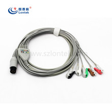 PIONEER 5 lead Wire One piece series patient ECG cable AHA Standard, CLIP Connector,1K resistance