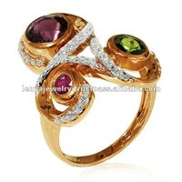 Three Gemstone Pink Gold Plated 925 Sterling Silver Ring Jewellery