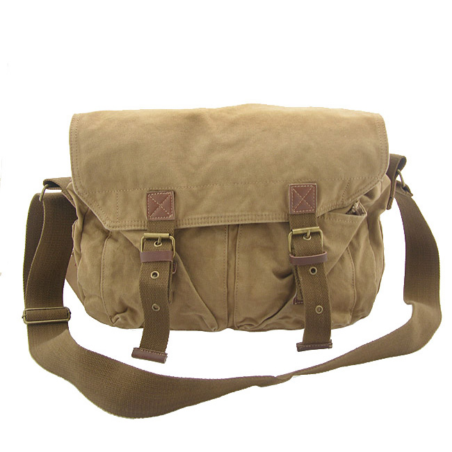 2361 Retro Design School Casual Army Green Washed Canvas And ...