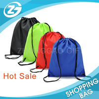 Washable 210D Polyester Small Kids Favor Green/Orange/Red/Blue/Black Rope Nylon Drawstring Bag for Sports Event