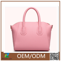 2016 summer woman leather tote bag made in China/Pink elegant felt tote bag