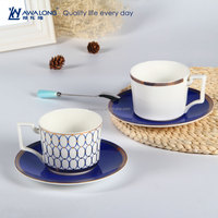 Luxurious Fine Bone China Coffee Cup And Saucer royal ceramic tea Cups