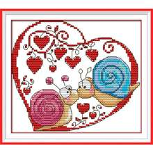 Snail Couples Pattern Cross Stitch Set DIY Needlework Counted Cross-Stitching Embroidery Kit Home Decor 14CT 20 * 18cm