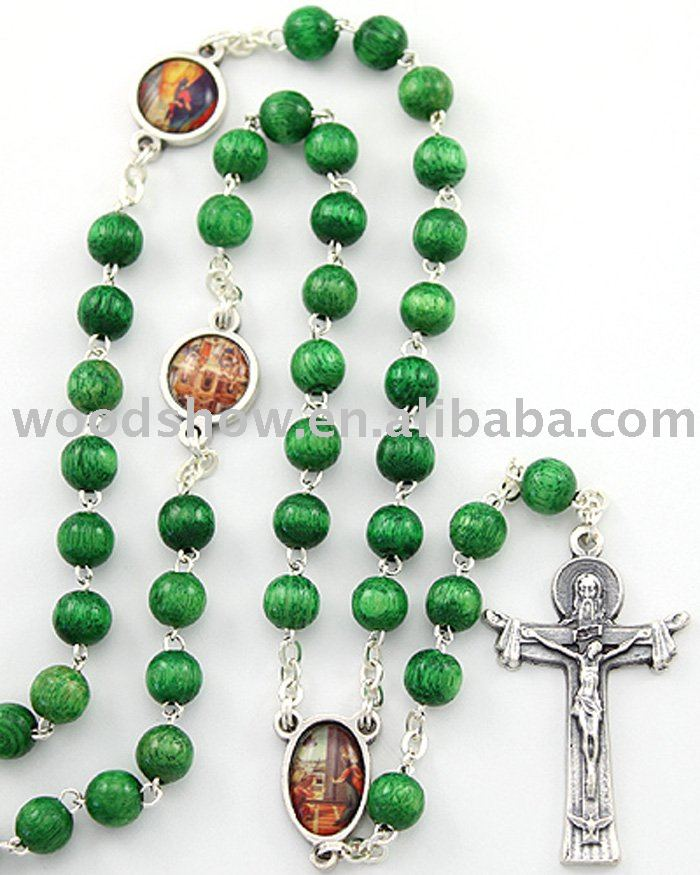 Joyful Mysteries Rosary, Green Wooden Beads with Jesus cross alloy pendant necklace