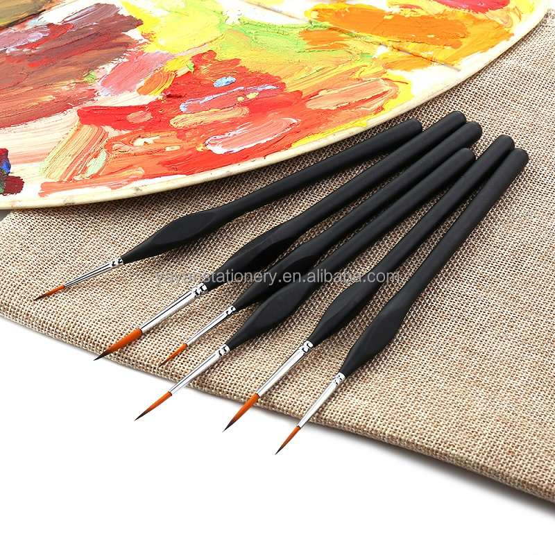 China Art Supplies 6Pcs/set Pointed Round Synthetic Nylon Detail Brushes for Studio