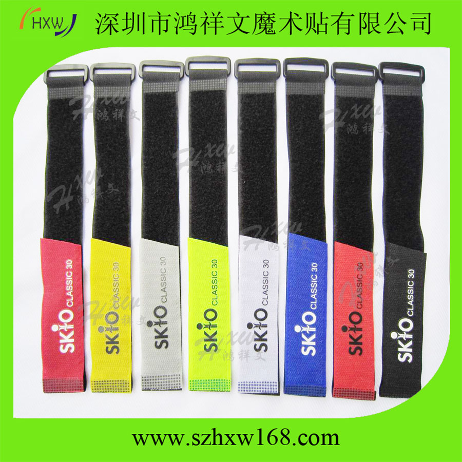Color Hook and Loop Reusable Fastening Cable Tie with Plastic Buckle