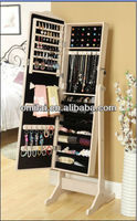 Eco-more MDF standing mirror jewelry cabinet
