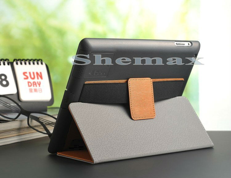Order From China Direct Hand-Held Leather Protector Case with Stand for iPad2/3