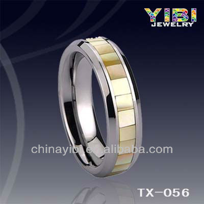 Sea Yellow Shell Pearl Tungsten Rings Tungsten Wedding Rings for Men Tungsten Mood Rings for Sale