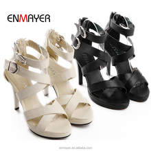 New design man made PU straps upper 11cm high heel woman sandals pumps with buckles and back zipper
