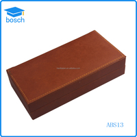 Popular Brown Printing Logo leather Box Packaging Pen Box for gift