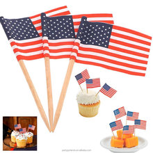 wooden food picks disposable flag toothpicks