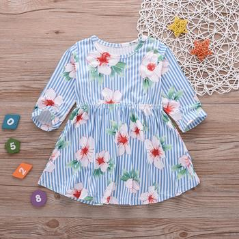 Boutique Cotton baby girl dresses 2019 for spring summer dress blue plaids Long Sleeve Lovely Floral Print Flower